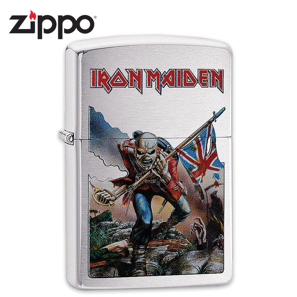 "Iron Maiden Zippo Lighter - ""The Trooper"" Album Art - Brushed Chrome"