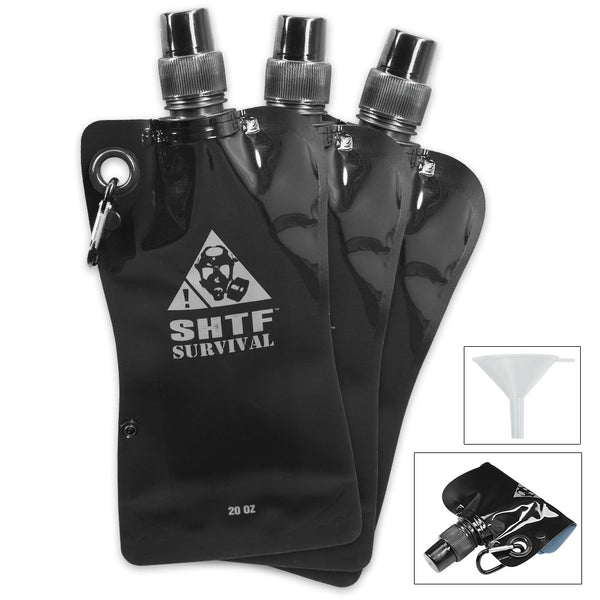 SHTF Survival Flask 3-Pack with Funnel, Carabiners