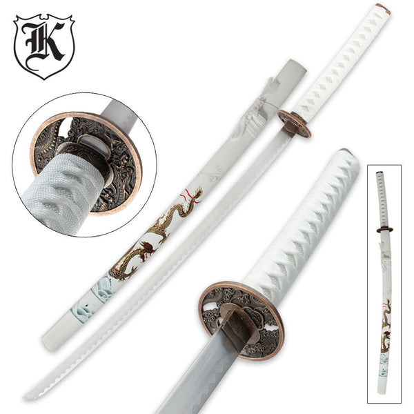 White Flying Dragon Katana Sword and Scabbard