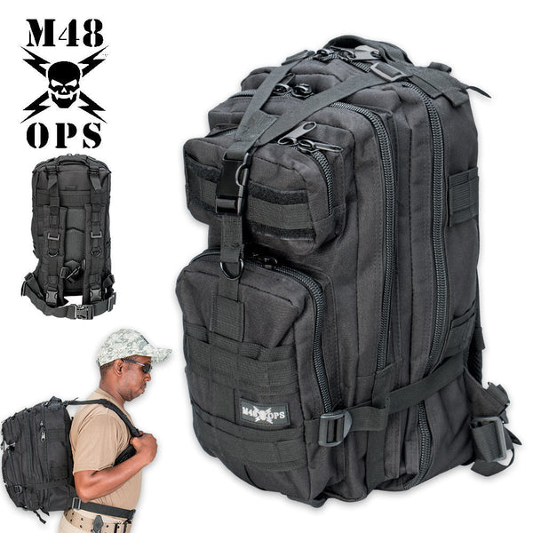 M48 OPS Tactical Knapsack Backpack - Black