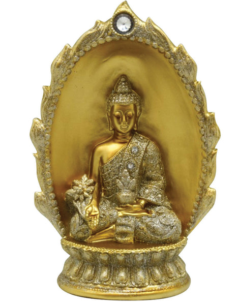 Buddha w/ Oval Backdrop Statuette