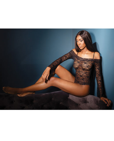 Bold Stretch Lace Teddy w/Removable Straps & Snap Crotch