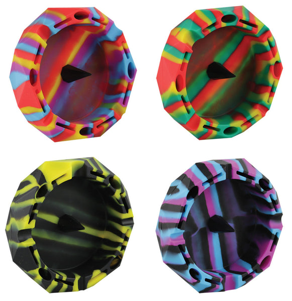 "Diamond Multi Color Silicone Ashtray - 5"" / Assorted"