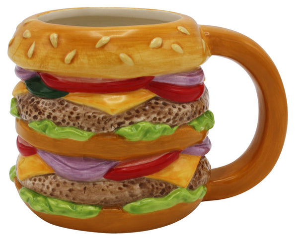 Large Double Burger Ceramic Mug - 20oz