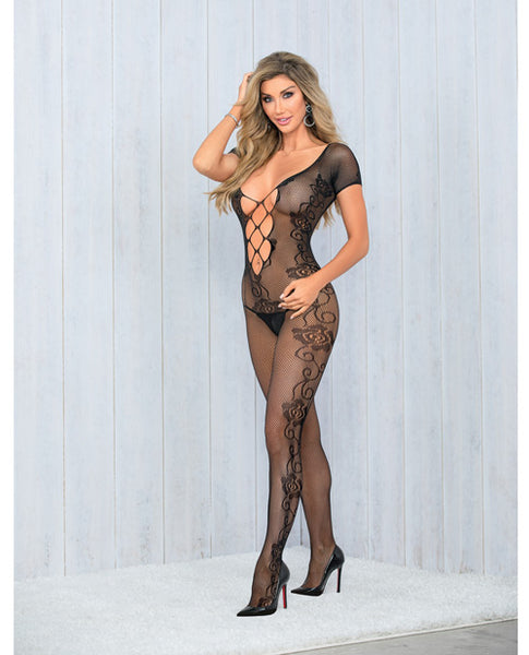 Lattice Front & Back Crotchless Bodysuit