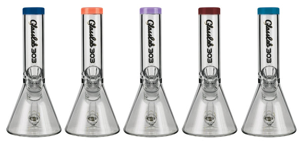 "Glasslab 303 Mini Beaker Water Pipe - 7"" / 14mm F / Asst. Colors"