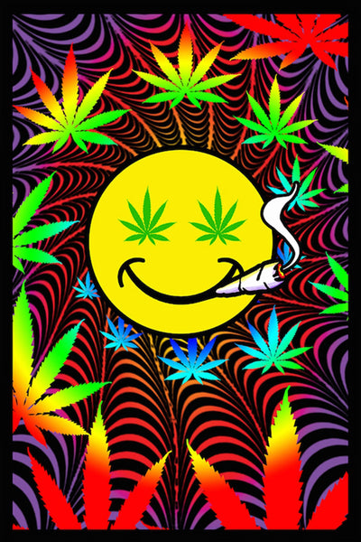 Happy Weed Flocked Blacklight Poster