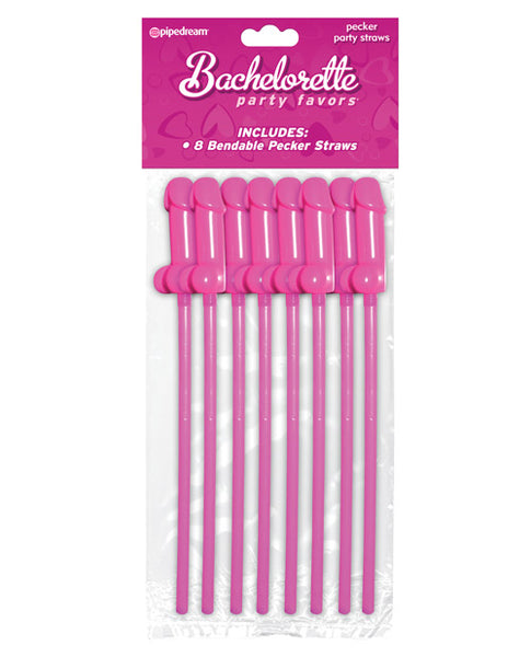 Bachelorette Party Favors Bendable Pecker Straws - Pack of 8