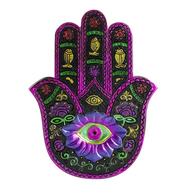 "Hamsa Hand Incense Burner - 5""x3.75"" - Black/ Fuschia"