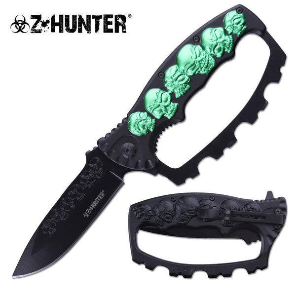 Z-Hunter Assisted Green Skull Folding Knife with Knuckle Guard