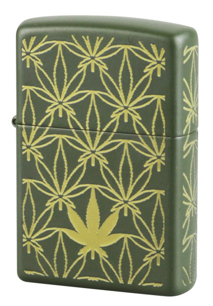 Zippo Classic Lighter - Green Matte w/ Hemp Leaves