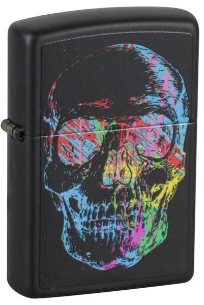 Zippo Lighter - Neon Pop Art Skull