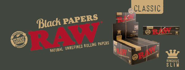 Raw Natural Unrefined Rolling Paper - Black Papers