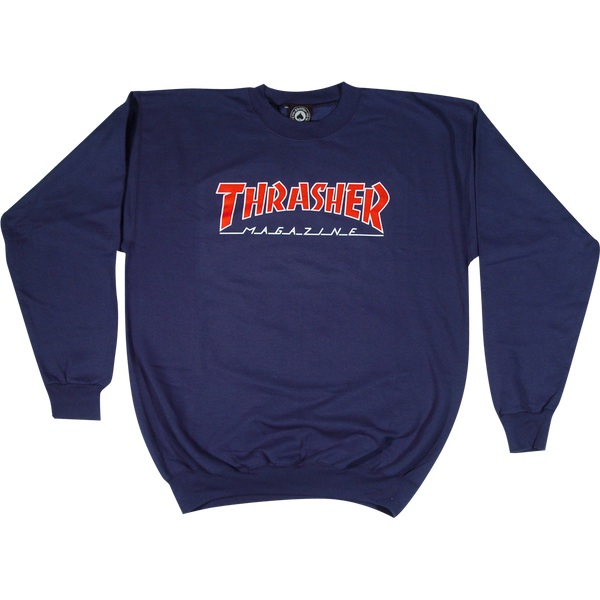 Thrasher Red/Navy Blue - Outlined Logo Crew Sweatshirt
