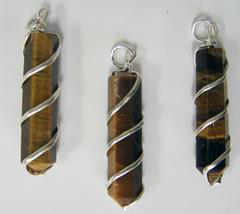 Tiger Eye Coil Wrapped Point Stone Pendant