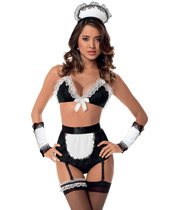 Retro Maid Bra, Arm Bands, Highwaisted Panty Garter Belt, Headpiece & Thigh Highs Black/White O/S