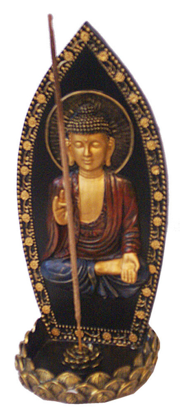 "8.5"" Upright Buddha Incense Burner"