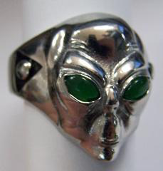 Alien With Green Eyes Stainless Steel Biker Ring