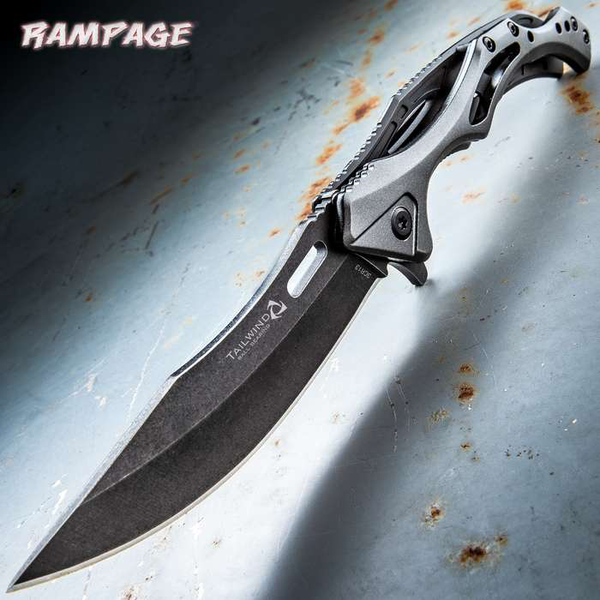 Rampage Tailwind Ball Bearing Pocket Knife Stainless Steel Blade, Aluminum And Steel Handle