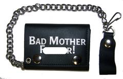 Bad Mother F Trifold Leather Wallet With Chain