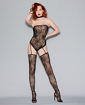 Fishnet Lace Teddy Bodystocking w/Snap Closure & Attached thigh Highs Black O/S