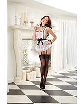 Small 4 pc Lace Apron w/Attached Elastic Garters, G-String, Cap, Neck Ribbon & Tickler Black/White O/S