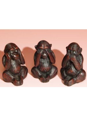 "Incense Burner Resin 3 Monkeys 2.5"" (Set)"