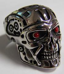Robot Head With Red Eyes Stainless Steel Biker Ring