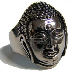 Buddha Head Stainless Steel Biker Ring