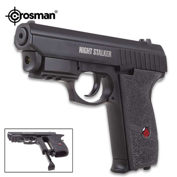 Crosman Night Stalker Air Pistol With Internal Laser Sight Semi Auto Blowback, Co2 Powered