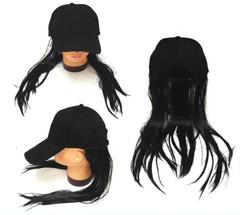 Baseball Hat With Long Black Hair
