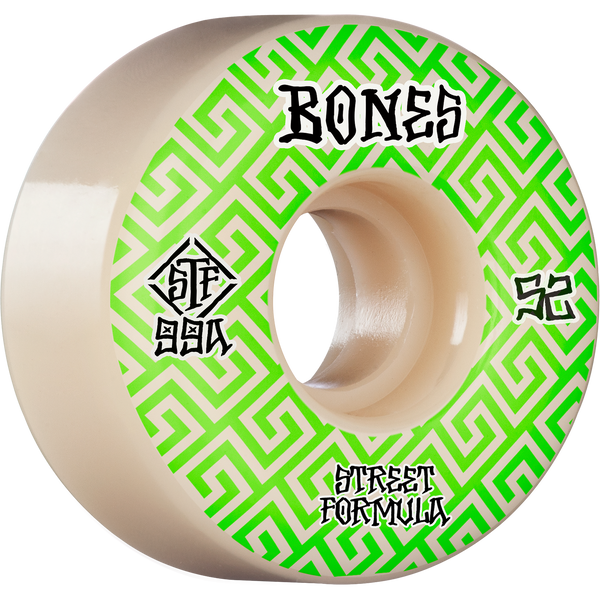Bones Stf V2 Patterns 99A 52Mm White/Green Wheels