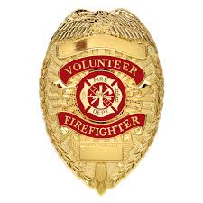 Volunteer Firefighter Badge - Silver/Gold