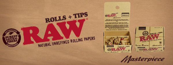 Raw Masterpiece Rolling Paper Roll - King Size Slim w/ Pre Rolled Tips