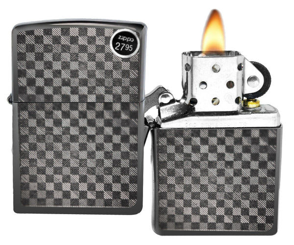 Zippo Gray Iced Checker Pattern Carbon Fiber Lighter
