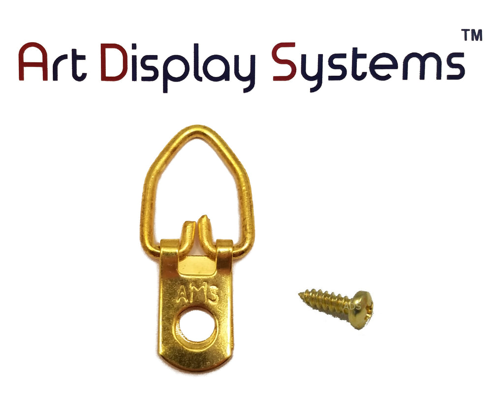 AMS 1 Hole Narrow BP D-Ring Hanger with 4 3/8 Screws – Pro Quality – 100 Pack by Art Display Systems - ART DISPLAY SYSTEMS