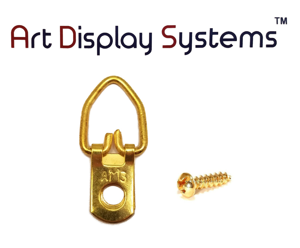 AMS 1 Hole Narrow BP D-Ring Hanger with 6 1/2 Screws – Pro Quality – 100 Pack by Art Display Systems - ART DISPLAY SYSTEMS