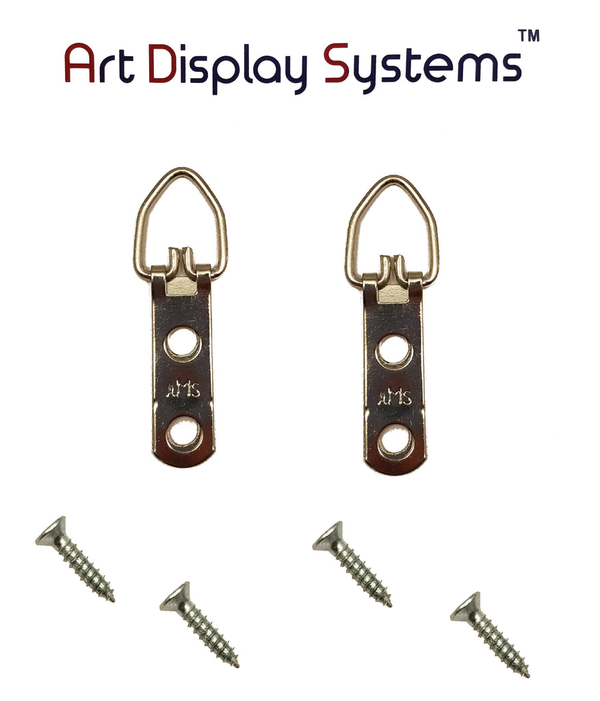 AMS 2 Hole Narrow ZP D-Ring Hanger with 4 1/2 Screws – 100 Pack Art Display Systems - ART DISPLAY SYSTEMS