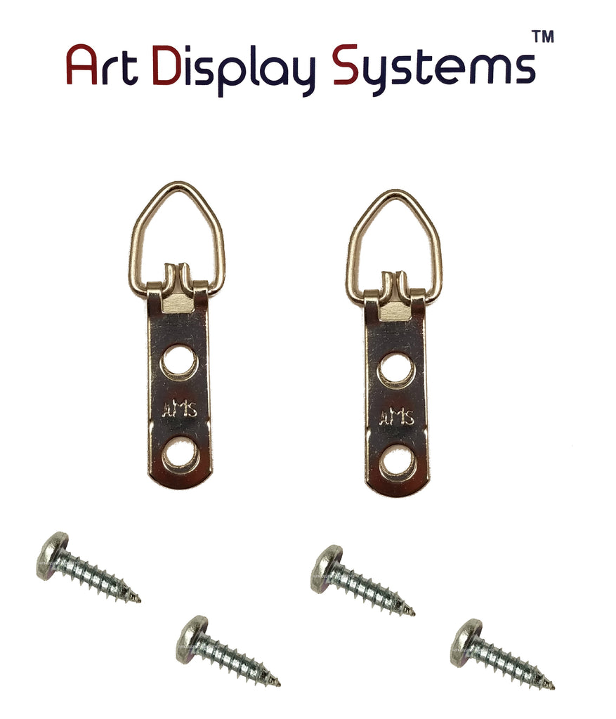 AMS 2 Hole Narrow ZP D-Ring Hanger with 6 1/2 Screws – 100 Pack by Art Display Systems - ART DISPLAY SYSTEMS