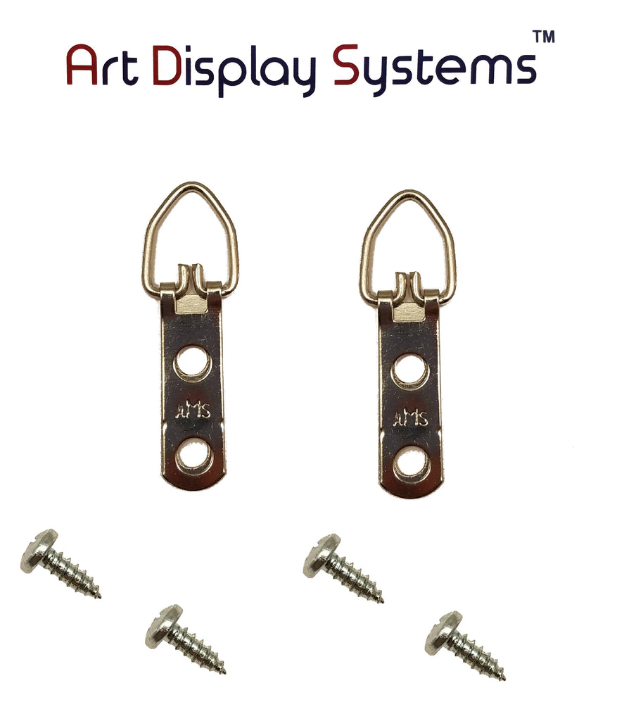 AMS 2 Hole Narrow ZP D-Ring Hanger with 6 3/8 Screws – 100 Pack by Art Display Systems - ART DISPLAY SYSTEMS