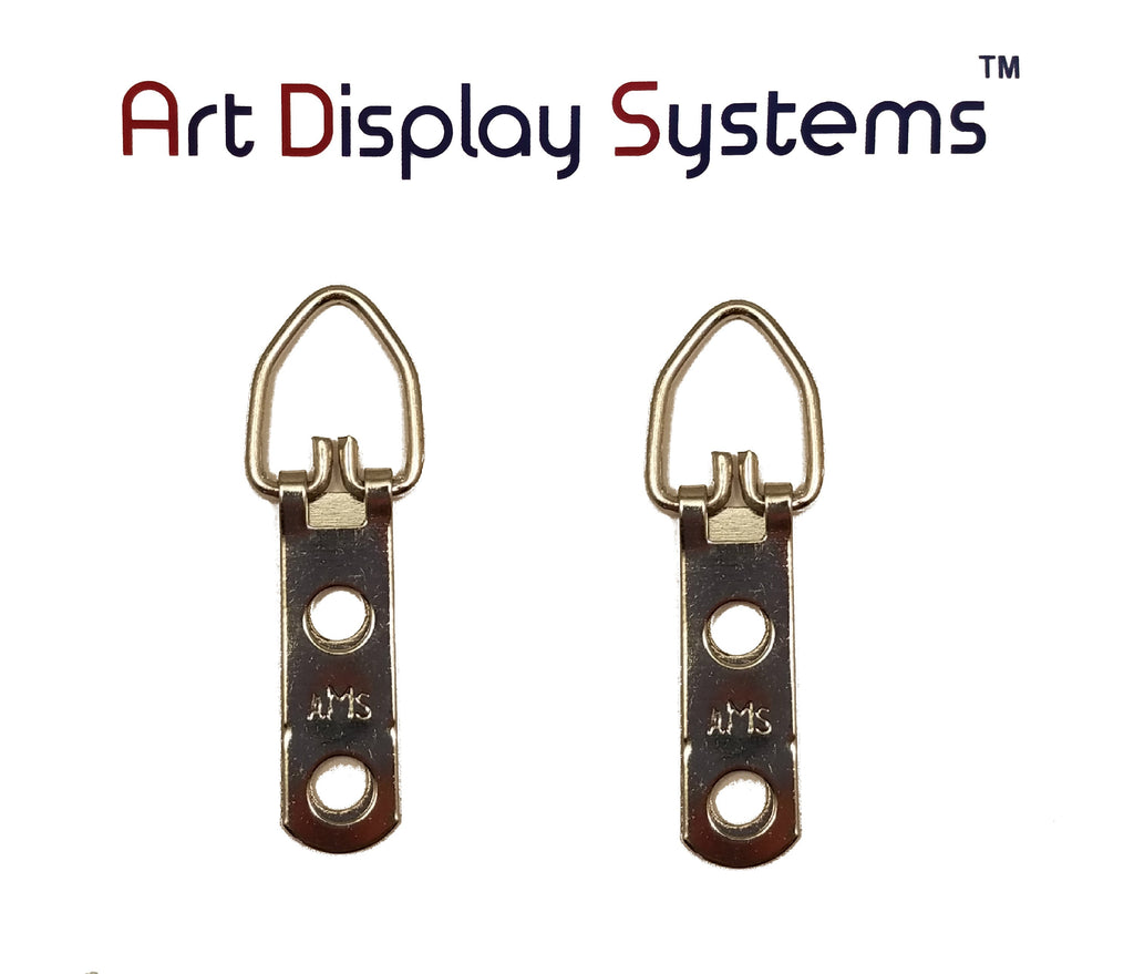 AMS 2 Hole Narrow ZP D-Ring Hanger – No Screws – 100 Pack by Art Display Systems - ART DISPLAY SYSTEMS