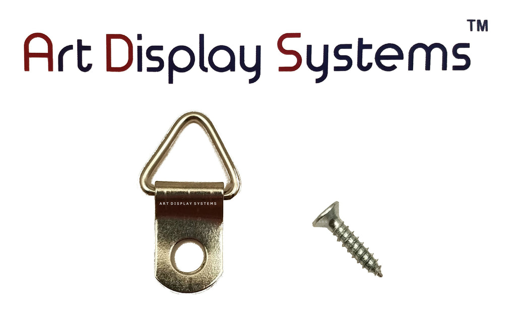 ADS 1 Hole Triangle ZP D-Ring Hanger with 4 1/2 Screws – Pro Quality – 100 Pack - ART DISPLAY SYSTEMS