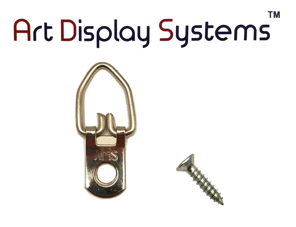 AMS 1 Hole Arrow Head ZP D-Ring Hanger with 4 1/2 Screws – 100 Pack by Art Display Systems - ART DISPLAY SYSTEMS