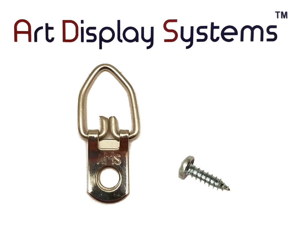 AMS 1 Hole Arrow Head ZP D-Ring Hanger with 6 1/2 Screws – 100 Pack by Art Display Systems - ART DISPLAY SYSTEMS
