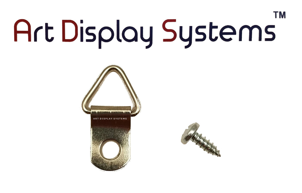 ADS 1 Hole Triangle ZP D-Ring Hanger with 6 3/8 Screws – Pro Quality – 100 Pack - ART DISPLAY SYSTEMS