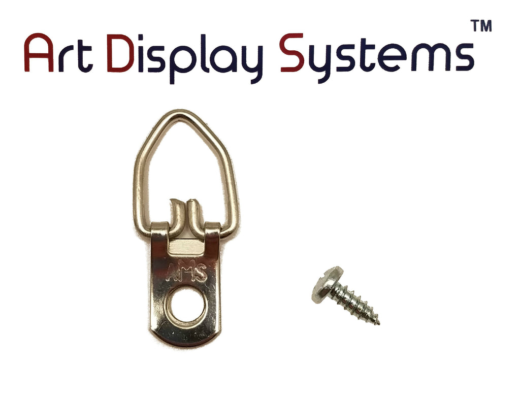 AMS 1 Hole Arrow Head ZP D-Ring Hanger with 6 3/8 Screws – 100 Pack by Art Display Systems - ART DISPLAY SYSTEMS