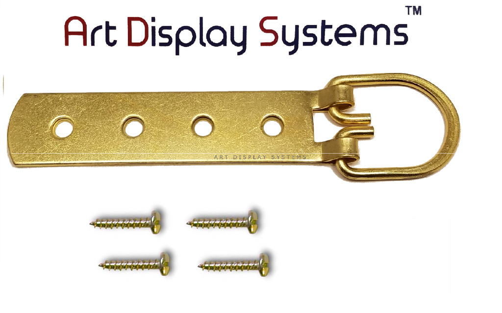 ADS Super Heavy Duty Extra Large Strap Hanger - 4 Hole Brass Plated D-Ring Hanger - 2 Pack - ART DISPLAY SYSTEMS