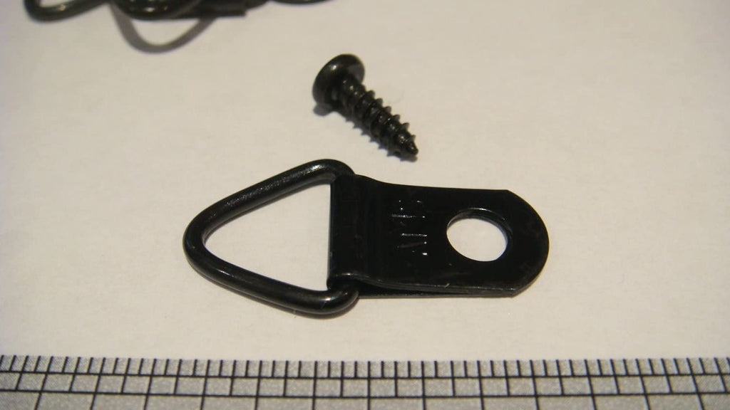 "ADS - SMALL BLACK PLATED TRIANGLE HANGERS & #4-3/8"" BLACK PLATED PAN HEAD PHILLIPS SCREWS"