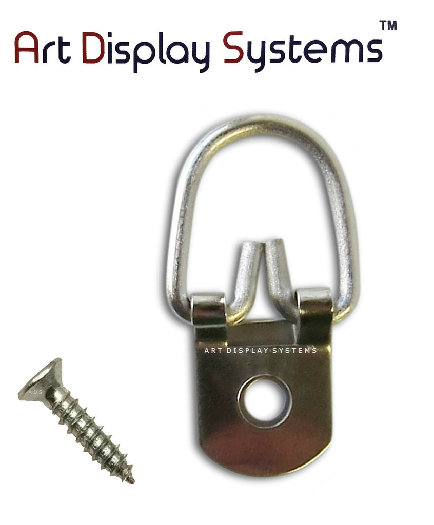ADS 1 Hole Heavy Duty ZP D-Ring Hanger with 4 1/2 Screws – Pro Quality – 100 Pack - ART DISPLAY SYSTEMS