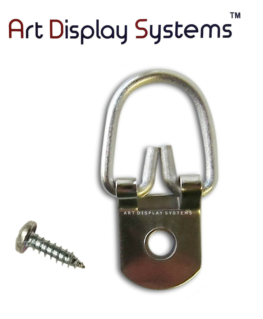 ADS 1 Hole Heavy Duty ZP D-Ring Hanger with 6 1/2 Screws – Pro Quality – 100 Pack - ART DISPLAY SYSTEMS